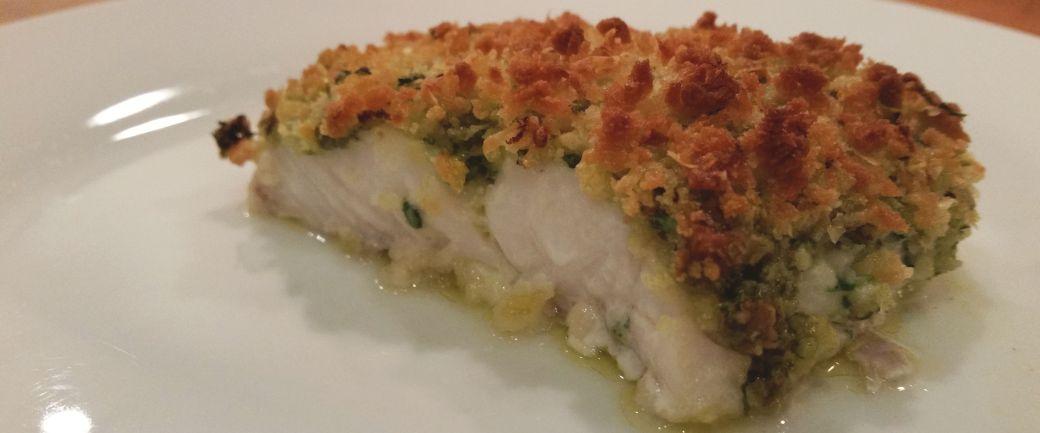 Ovnbagt torsk med pesto og ostecrumble